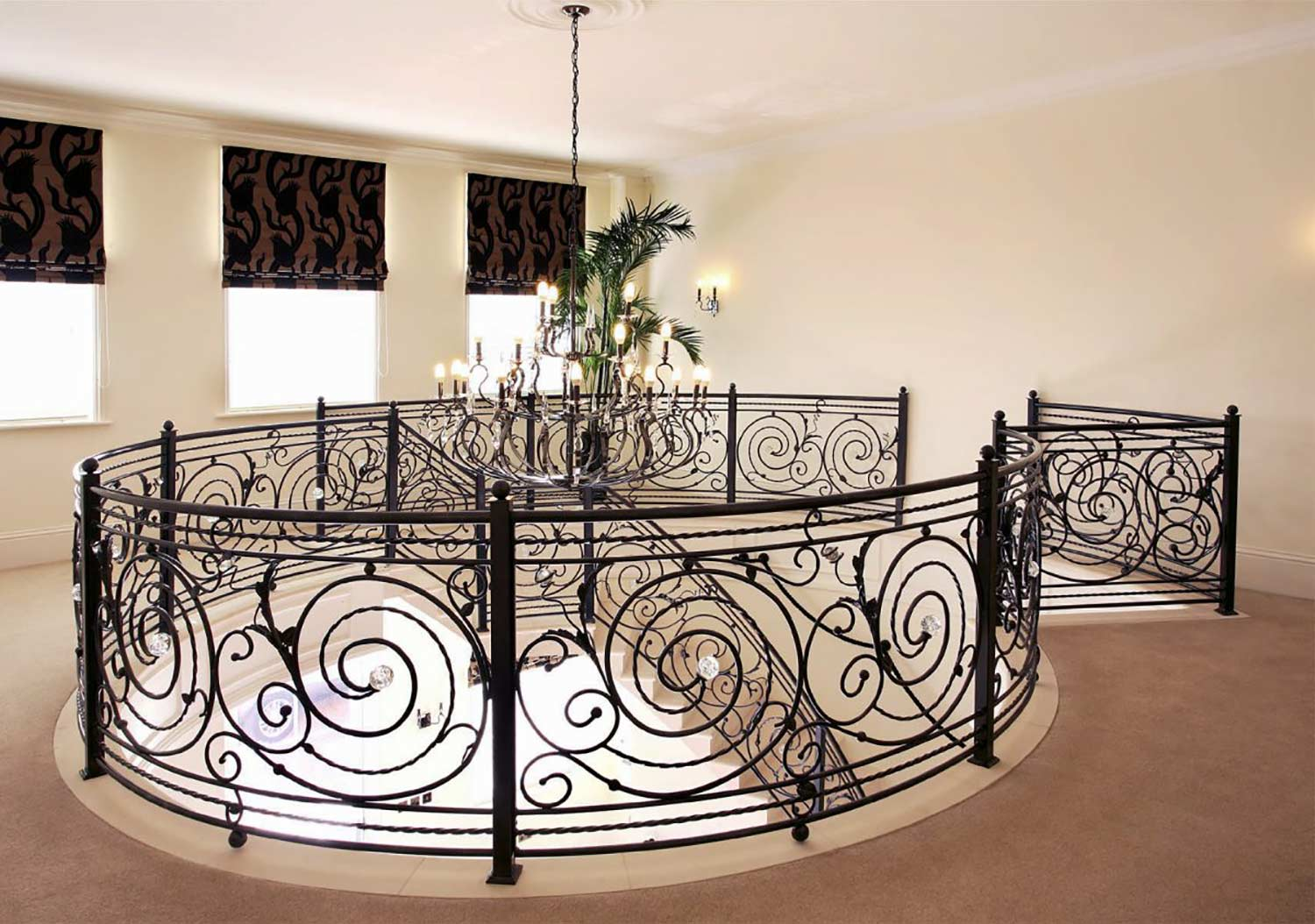 staircases flourished swirls and spirals - overwrought - metal staircase railing